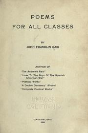 Cover of: Poems for all classes