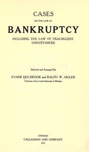 Cases on the law of bankruptcy by Evans Holbrook