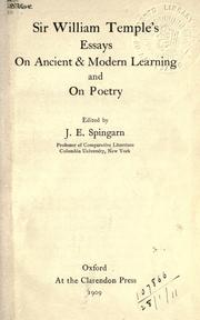 Cover of: Sir William Temple's essays on ancient & modern learning, and on poetry