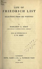 Cover of: Life of Friedrich List | Margaret E. Hirst