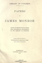 Cover of: Papers of James Monroe by