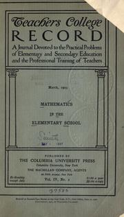 Cover of: Mathematics in the elementary school
