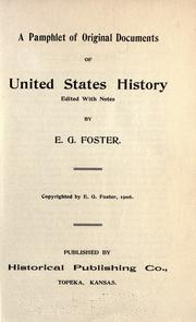Cover of: A pamphlet of original documents of United States history |