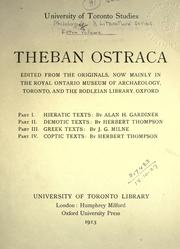 Cover of: Theban ostraca |
