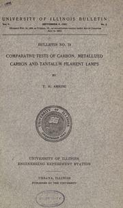 Cover of: Comparative tests of carbon, metallized carbon and tantalum filament lamps