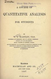 Cover of: A course of quantitative analysis for students