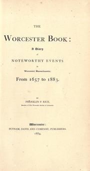 Cover of: The Worcester book by Rice, Franklin P.