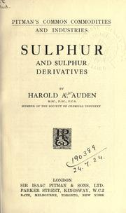 Cover of: Sulphur and sulphur derivatives