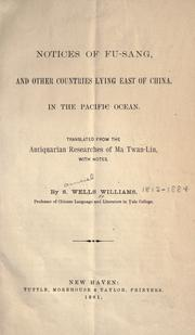 Cover of: Notices of Fu-sang, and other countries lying east of China, in the Pacific Ocean