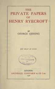 Cover of: The private papers of Henry Ryecroft