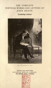 Cover of: The complete poetical works and letters of John Keats