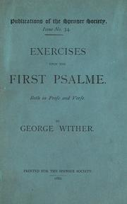 Cover of: Exercises vpon the first Psalme