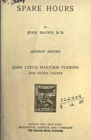 Cover of: Spare hours, second series