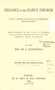Cover of: Penance in the early church | O'Donnell, Michael J.