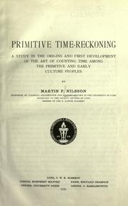 Cover of: Primitive time-reckoning | Nilsson, Martin P.