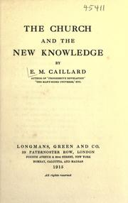 Cover of: The church and the new knowledge