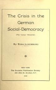 "Cover of: The crisis in the German social-democracy: (The ""Junius"" pamphlet)"