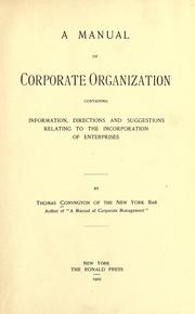 A manual of corporate organization by Conyngton, Thomas