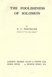 Cover of: The foolishness of Solomon