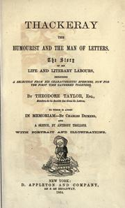 Cover of: Thackeray the humourist and the man of letters