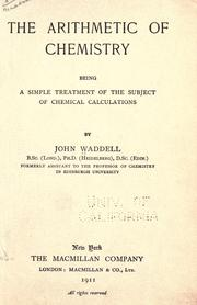 Cover of: The arithmetic of chemistry