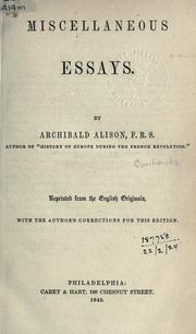 Cover of: Miscellaneous essays