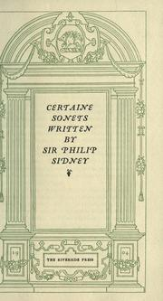 Cover of: Certaine sonets