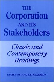 Cover of: The Corporation and Its Stakeholders | Max B.E. Clarkson