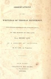 Cover of: Observations on the writings of Thomas Jefferson
