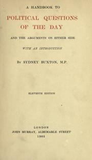 Cover of: A handbook to political questions of the day and the arguments on either side, with an introd