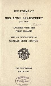 Cover of: The poems of Mrs. Anne Bradstreet (1612-1672)