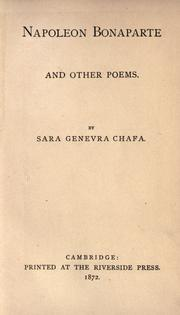 Cover of: Napoleon Bonaparte and other poems