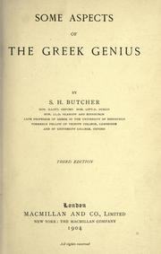 Some aspects of the Greek genius by S. H. Butcher