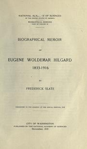 Cover of: Biographical memoir of Eugene Woldemar Hilgar, 1833-1916
