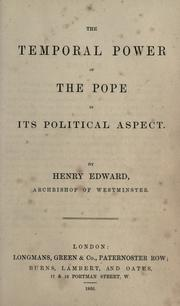 Cover of: The temporal power of the pope in its political aspect