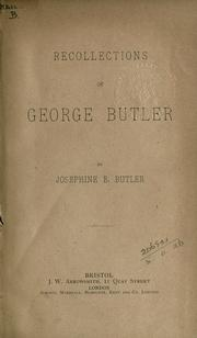 Cover of: Recollections of George Butler
