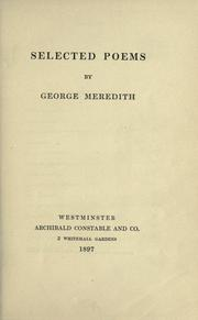 Cover of: Selected poems of George Meredith