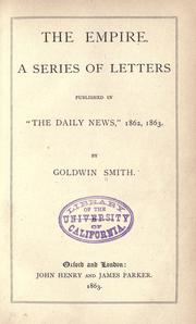 "Cover of: The empire: a series of letters, published in ""The Daily news,"" 1862, 1863"