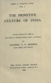 Cover of: The primitive culture of India