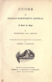 Cover of: Cuore, an Italian schoolboy's journal: a book for boys