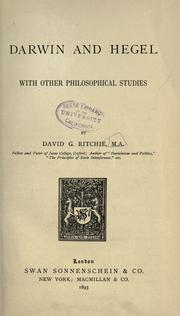 Cover of: Darwin and Hegel