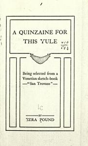 "Cover of: A quinzaine for this Yule: being selected from a Venetian sketch-book ""San Trovaso."""
