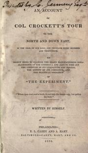 An account of Col. Crockett's tour to the North and down East by Davy Crockett