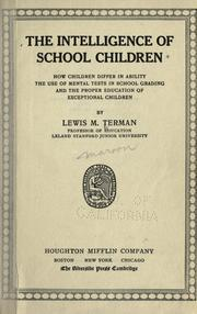 Cover of: The intelligence of school children