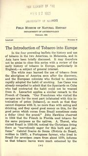Cover of: Introduction of tobacco into Europe