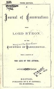 Cover of: A journal of conversations with Lord Byron