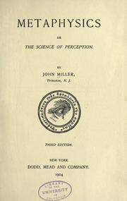 Metaphysics by Miller, John