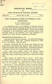 Cover of: New mammals from Guatemala and Honduras