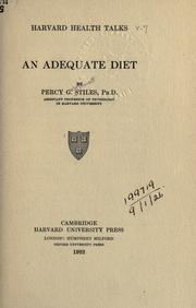 Cover of: An adequate diet