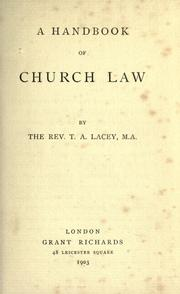 Cover of: A handbook of church law